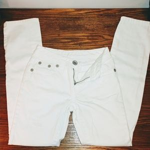 Justice white distressed jeans